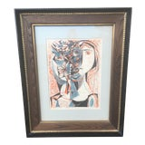 Image of Vintage Mid-Century Richard Zoellner Abstract Woman Flower Lithograph Print For Sale
