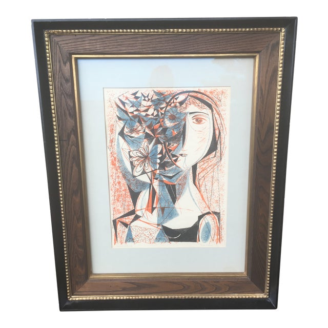 Vintage Mid-Century Richard Zoellner Abstract Woman Flower Lithograph Print For Sale