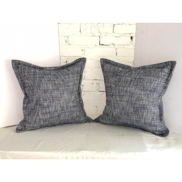 """20"""" Cotton Tweed Pillows in Indigo Blue by Jim Thompson - a Pair For Sale - Image 9 of 10"""
