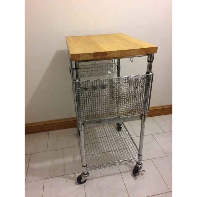 Brown Kitchen Cart With Wood Butcher Block Top For Sale - Image 8 of 13