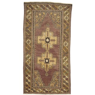 1960s Vintage Hand-Knotted Wool Rug - 3′9″ × 7′2″ For Sale
