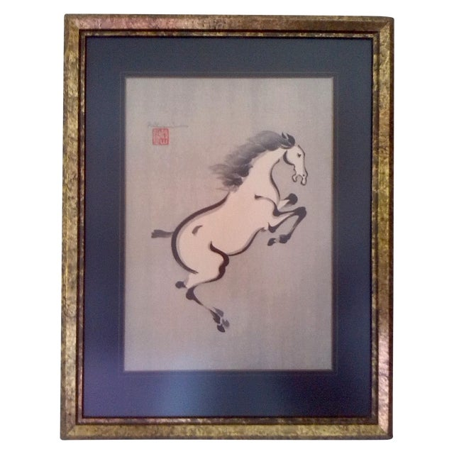 Original Japanese artwork in ink on linen mix paper of a rearing horse signed in pencil and 'chopped/stamped' by the...