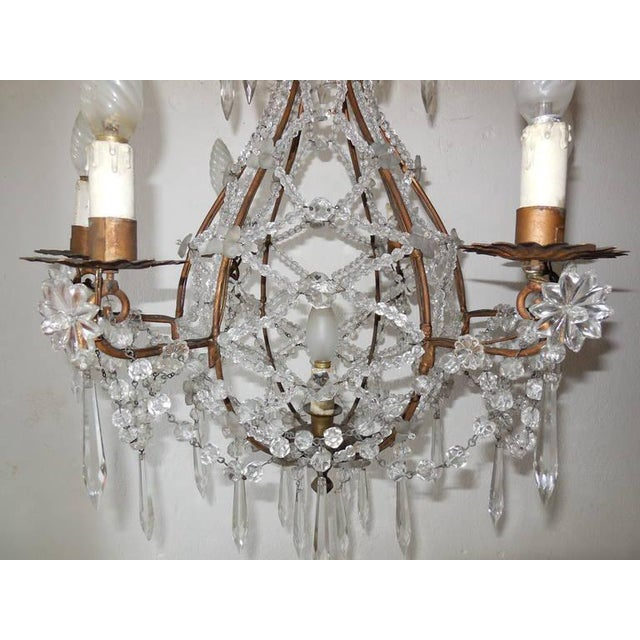 French French Beaded Balloon Crystal Chandelier, circa 1940 For Sale - Image 3 of 11