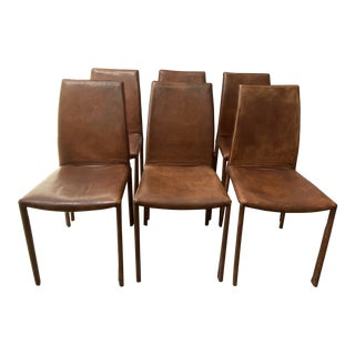 Cognac Leather Dining Chairs - Set of 6 For Sale