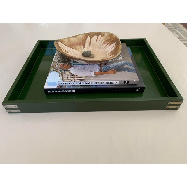 """Roe Kasian, """"British Racing Car Green"""" Lacquer Tray - 1970's For Sale In San Diego - Image 6 of 11"""