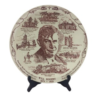 Will Rogers Souvenir Plate For Sale
