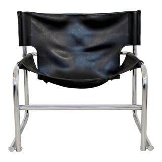 1960s Mid-Century Modern Rodney Kinsman Chrome & Black Leather Sling Armchair