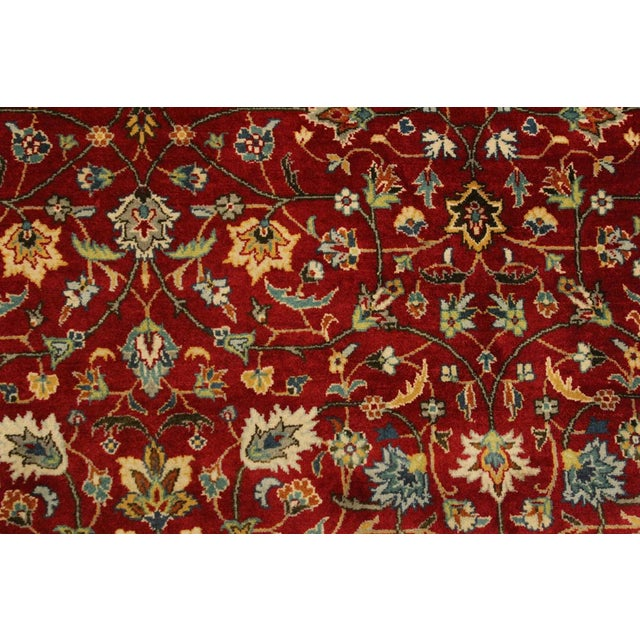 Shabby Chic Shabby Chic Pak-Persian Mirna Red/Teal Wool Rug - 9'0 X 12'0 For Sale - Image 3 of 8