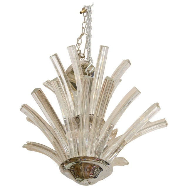 Metal 20th Century Two-Tier Murano Curved Glass Chandelier For Sale - Image 7 of 7