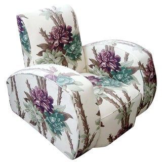 Dramatic Art Deco Club Chair Reupholstered in Floral Barkcloth For Sale