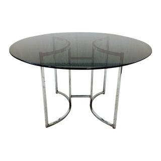 Vintage Mid Century Modern Glass & Chrome Table For Sale
