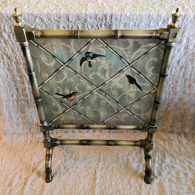 Wood English Traditional Style Painted Wood Fireplace Screen For Sale - Image 7 of 7