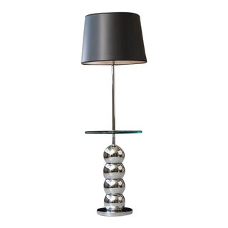 George Kovacs Stacked Chrome Ball Floor Lamp with Integrated Glass Table For Sale