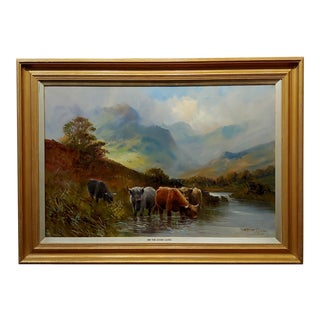 Stanley Graham -Highland Cattle in a Scottish Landscape-19th Century Oil Painting For Sale