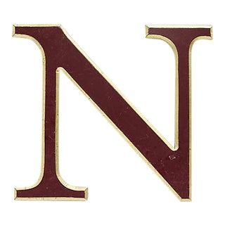 "Vintage Red & Gold English Pub Sign Letter "" N "" For Sale"