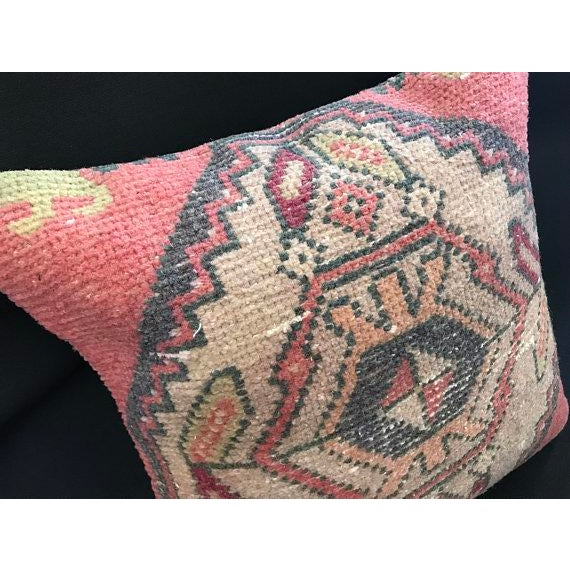 1960s 1960's Turkish Tribal Handwoven Oushak Pillow For Sale - Image 5 of 11
