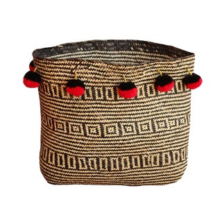 Borneo Temple Woven Straw Basket, With Bali Red & Black Pom-Poms