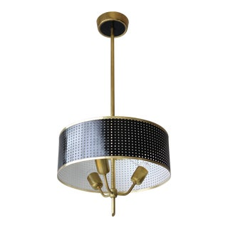 Pierre Guariche Style Perforated Drum Pendant For Sale