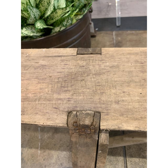 Antique French Long Primitive Bench For Sale In Los Angeles - Image 6 of 12