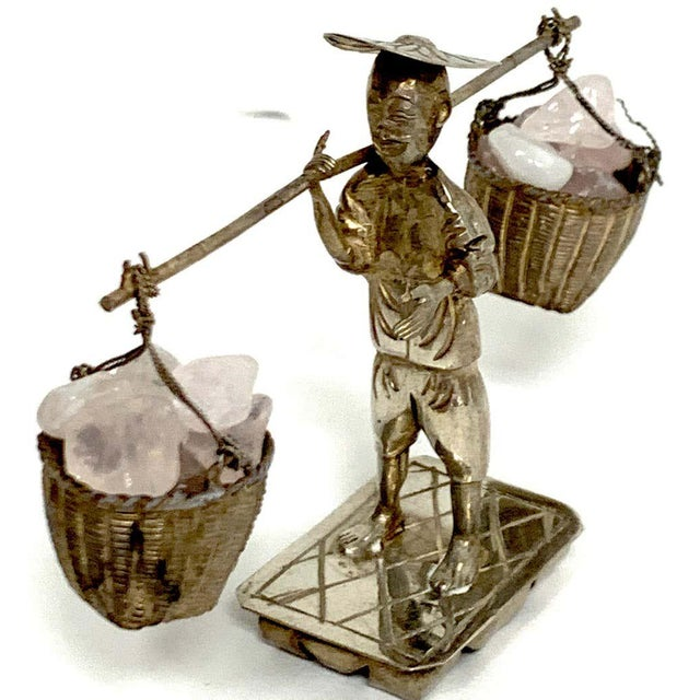 Chinese Export Sterling Figures of Labourers Carrying Rose Quartz - a Pair For Sale - Image 10 of 13