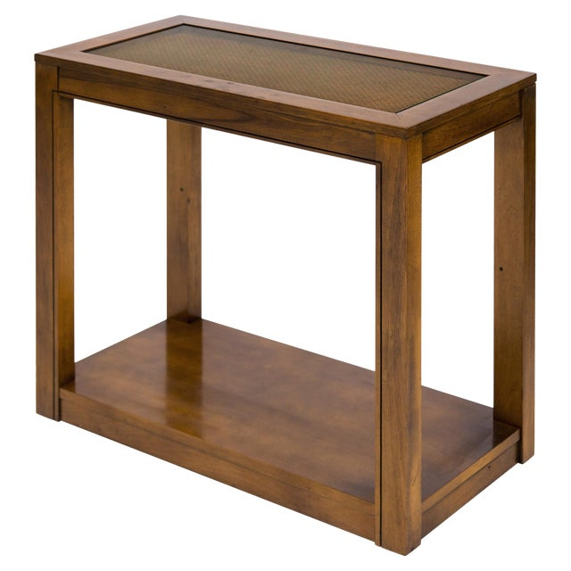 Vintage Caned Top Parsons Console Table For Sale