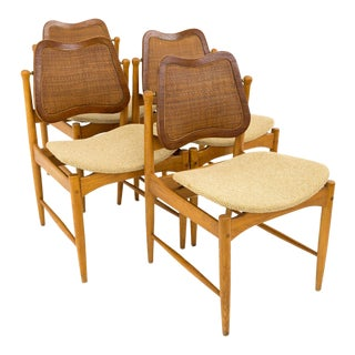 Vintage Mid Century Arne Vodder Teak and Cane Dining Chairs - Set of 4 For Sale