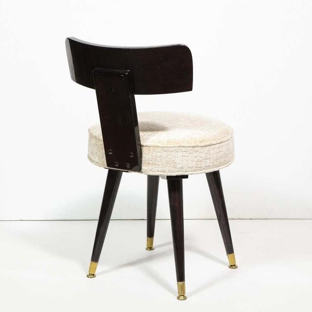 Black Mid-Century Modern Ebonized Walnut and Gauffraged Oyster Klismos Vanity Chair For Sale - Image 8 of 10