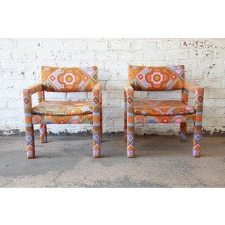 Milo Baughman for Thayer Coggin Parsons Style Club Chairs in Outstanding Larsen Fabric Preview