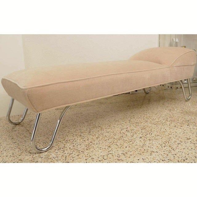 Vintage 1920s Kem Weber Chaise Streamline Moderne Style in Polished Chrome and Camel/Tan Mohair from a Palm Beach estate...