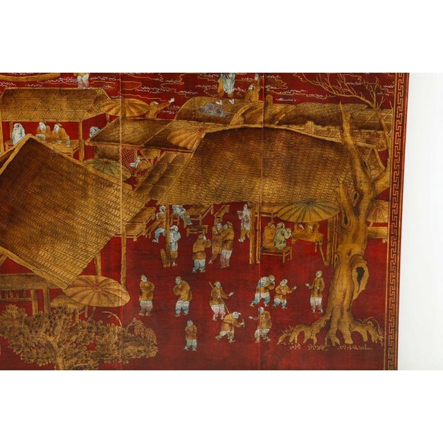 Series of Six Red Lacquered Chinoiserie Panels For Sale - Image 4 of 11