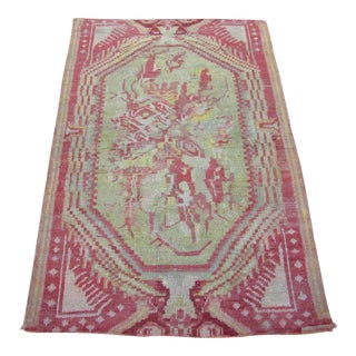 """Antique Hand Knotted Turkish Oushak Rug-2'11' x 4"""" For Sale"""