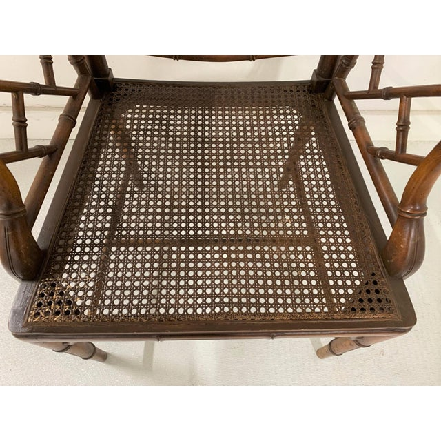 Wood Chinese Chippendale Style Faux Bamboo Arm Chair For Sale - Image 7 of 9
