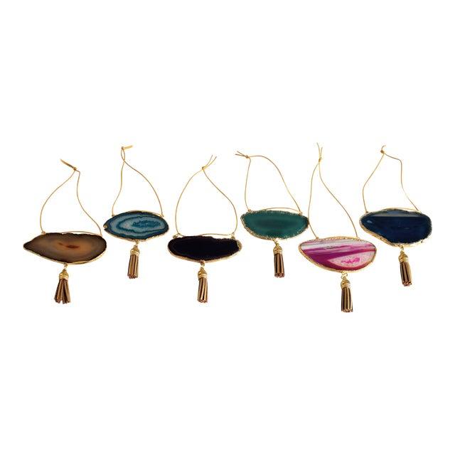 Modern Boho Agate Holiday Ornaments - Set of 6 - Image 1 of 10