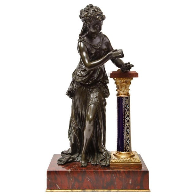 Exquisite French Bronze, Rouge Marble, and Sèvres Style Porcelain Sculpture For Sale - Image 13 of 13