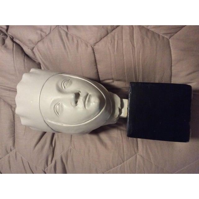 Wood 1960s Vintage Alva Studios Woman's Head Sculpture For Sale - Image 7 of 11