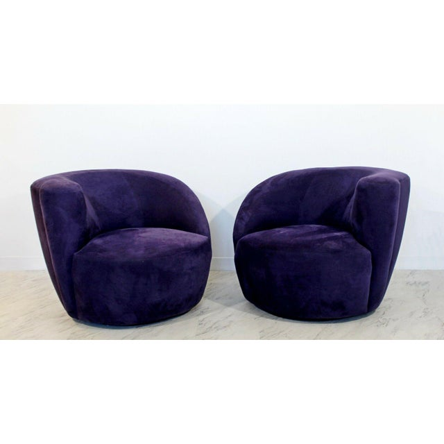 Purple 1980s Vintage Contemporary Vladimir Kagan Corkscrew Swivel Chairs- A Pair For Sale - Image 8 of 9