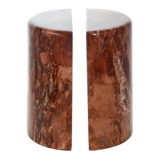 """Red Sienna Agate 6"""" Core Cut Bookends For Sale"""