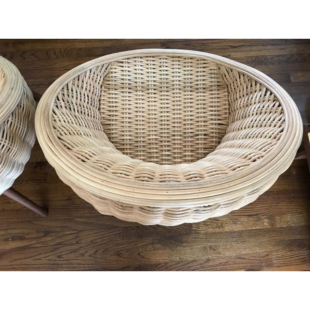 Brown Rattan Barrel Tub Chairs Danish Modern Style With Wood Legs - Pair For Sale - Image 8 of 13