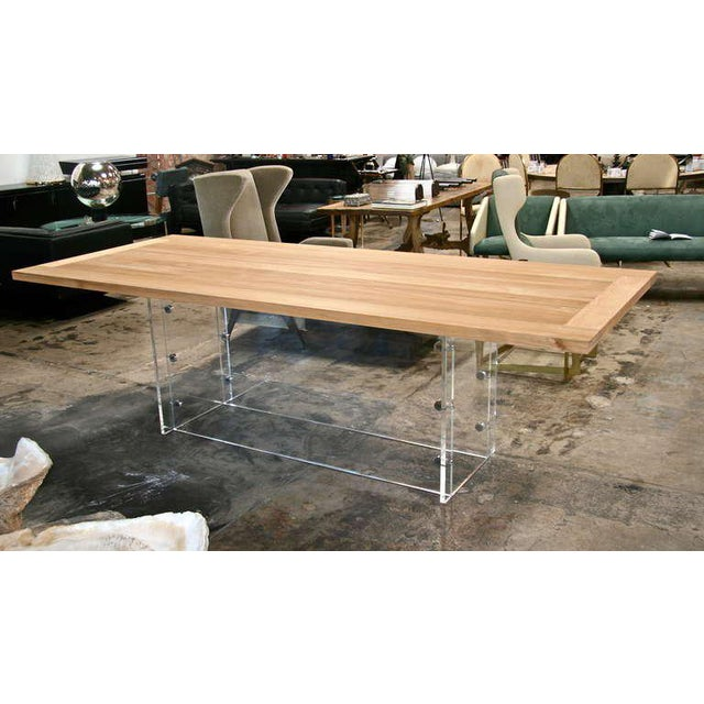 "Italian ""Spirit"" Burma Teak Table with Plexi Base For Sale - Image 3 of 9"