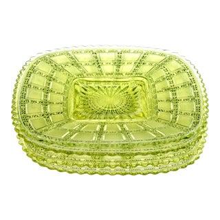 1930s Chartreuse Vaseline Glass Plates - Set of 4 For Sale