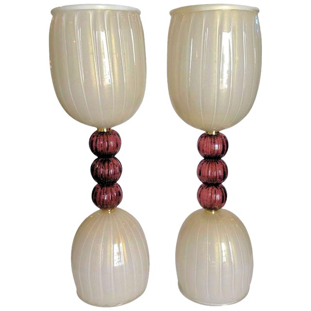 Mid-Century Modern Murano Glass Lamps, Barovier Style, C 1960s - a Pair For Sale