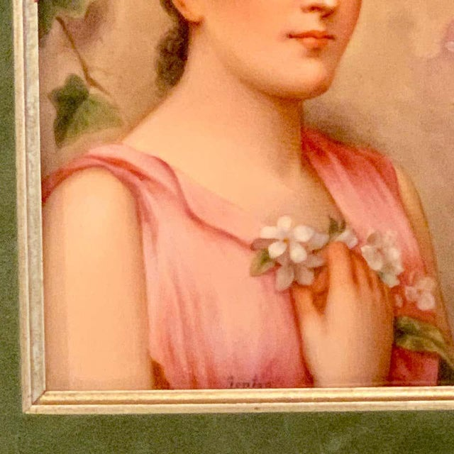 Green Fine German Painting on Porcelain of a Garden Muse For Sale - Image 8 of 13