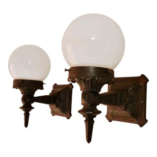 1920s Cast Iron Globe Outdoor Sconces - a Pair For Sale
