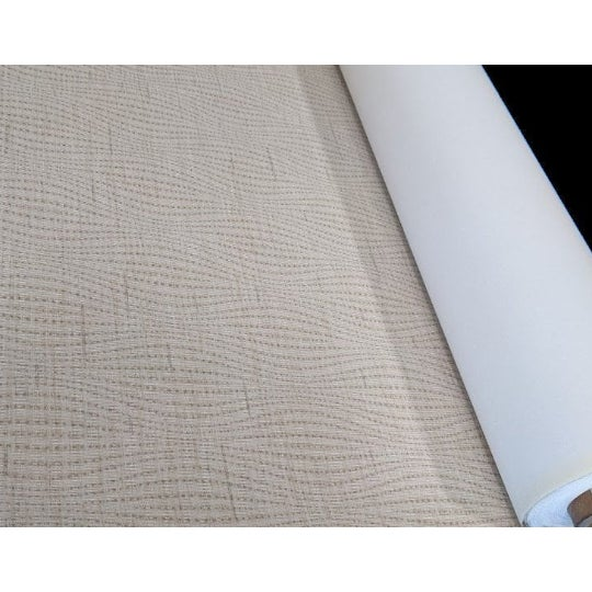 Art Deco Silver Moire Neutral Wavy Pattern Wallcovering For Sale - Image 3 of 3