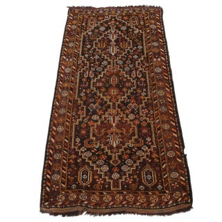 Vintage Hand-Knotted Persian Qashai Shiraz Rug- 2′9″ × 6′3″ For Sale