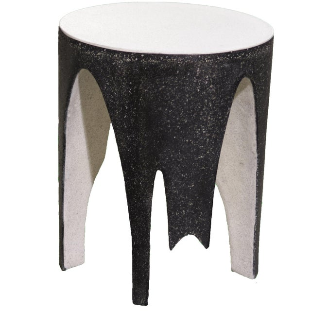 Plastic Cast Resin 'Corridor' Side Table, Black and White Finish by Zachary A. Design For Sale - Image 7 of 7