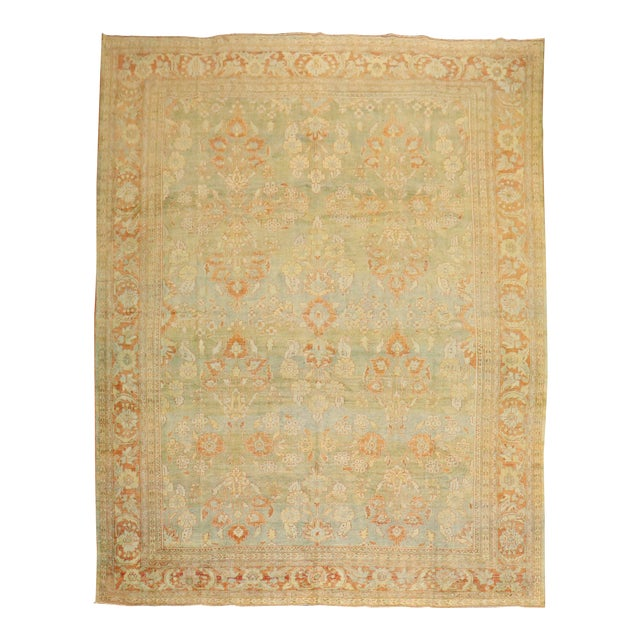 Pale Green Terracotta Antique Rug, 9'1'' X 12'7'' For Sale