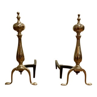 1920s Traditional Andirons With Ball Finial - a Pair