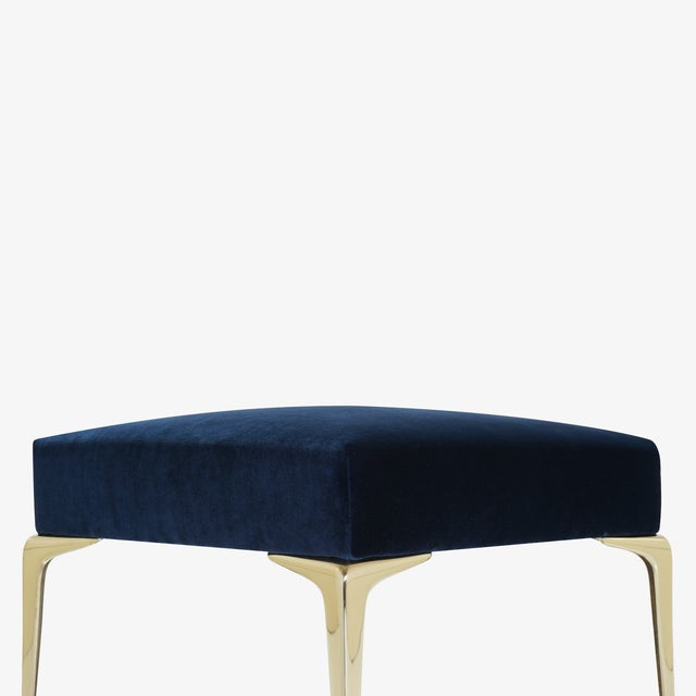 Colette Petite Brass Ottomans in Navy Velvet by Montage, Pair For Sale In New York - Image 6 of 8
