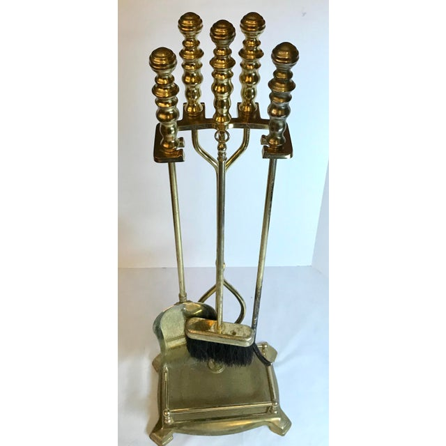 Gold Traditional Fireplace Tool Set - 5 Pieces For Sale - Image 8 of 9